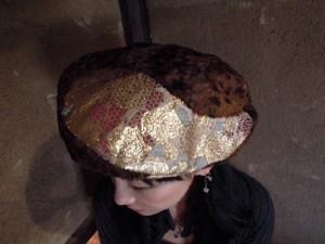 西陣金襴 薔薇に青海波 ベレー帽