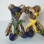 西陣織 金襴 正絹 でテディベア green