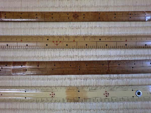 西陣織 金襴 正絹 鯨尺、曲尺、メートル尺、ものさし 比較