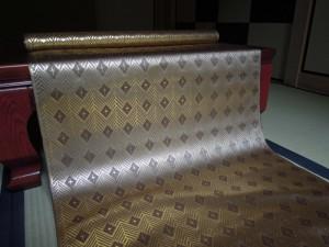 西陣金襴 全正絹 菱つなぎ紋様