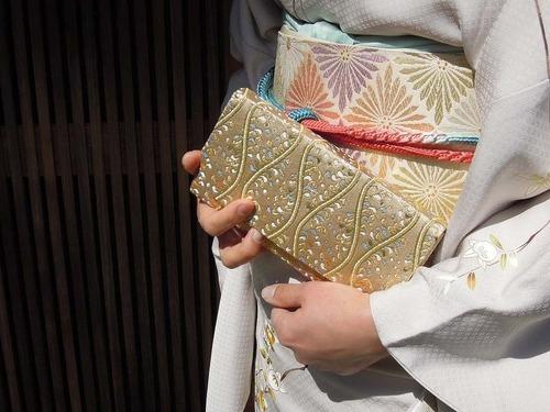 全正絹 西陣金襴 立枠波頭 バッグ