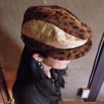 西陣織 金襴 細胞紋様&フェイクファー帽子