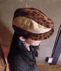 西陣金襴 細胞紋様&フェイクファー帽子