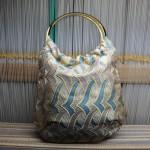 西陣織 金襴 燕矢紋様 リバーシブルバッグ