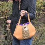 西陣織 金襴 独楽つなぎ紋様のバッグのご紹介です。
