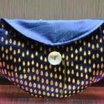 西陣織 金襴 滴紋様ポーチ青