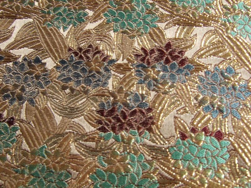 西陣金襴 正絹 笹葉紫陽花