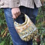 全正絹 西陣織 金襴 金羽重ね紋様 リバーシブルバッグ