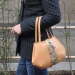 西陣金襴薔薇に青海波紋様のバッグ