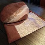 西陣織 金襴 正絹 &本革 ハンチングと巾着