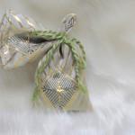 全正絹 金沢産本金箔糸引箔 金襴地の匂い袋~サビ朱地 菱つなぎ紋様 緯糸濃緑色