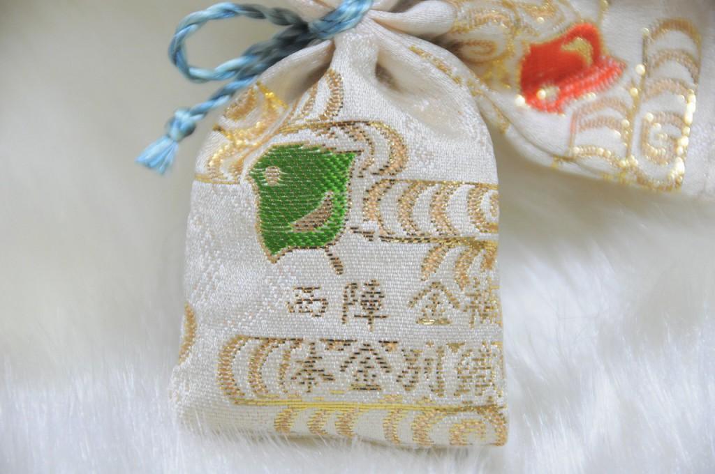 匂い袋~淡黄地 流水千鳥紋様