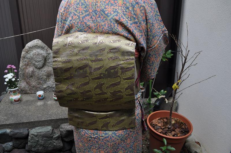 西陣織 金襴 正絹 アフリカ紋様 帯