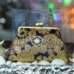 西陣正絹金襴 雪輪紋様 がま口ハンドバッグ