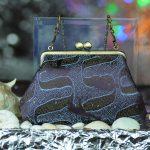 西陣正絹金襴 アフリカ紋様 がま口ハンドバッグ