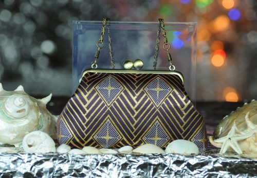 西陣正絹金襴 菱繋ぎ紋様 がま口ハンドバッグ