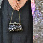 西陣金襴正絹 滴紋様 がま口ハンドバッグ