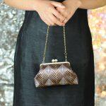 西陣金襴正絹 菱繋ぎ紋様 がま口ハンドバッグ