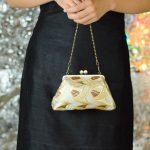 西陣金襴正絹 燕矢紋様 がま口ハンドバッグ