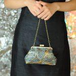西陣金襴正絹 葉脈紋様 がま口ハンドバッグ