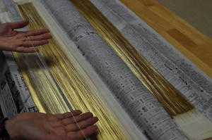 金沢産本金箔使用の漆和紙箔糸