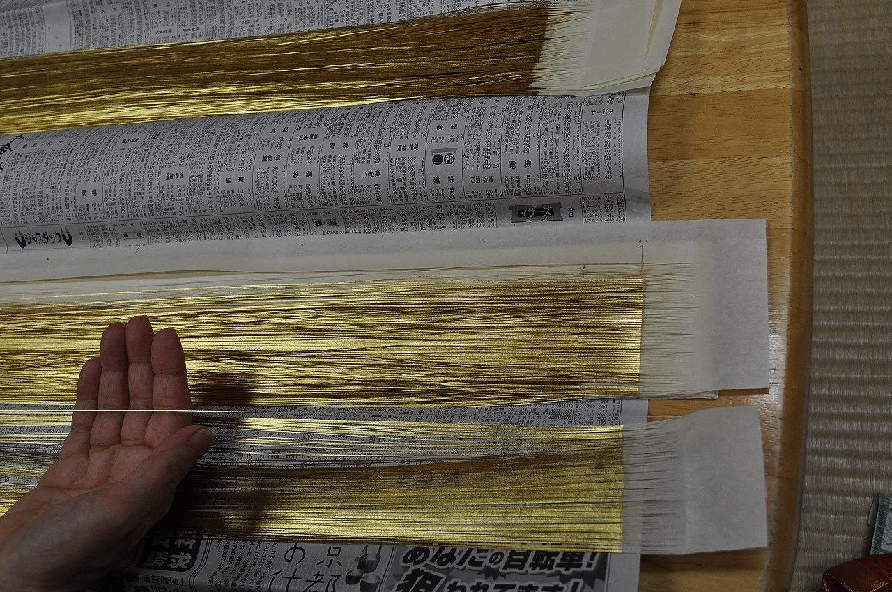 金沢産漆和紙本金箔糸