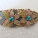 六花のバレッタ~西陣織 金襴 正絹 燕矢紋様使用