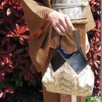 西陣織 金襴 正絹 燕矢紋様&本革バッグ