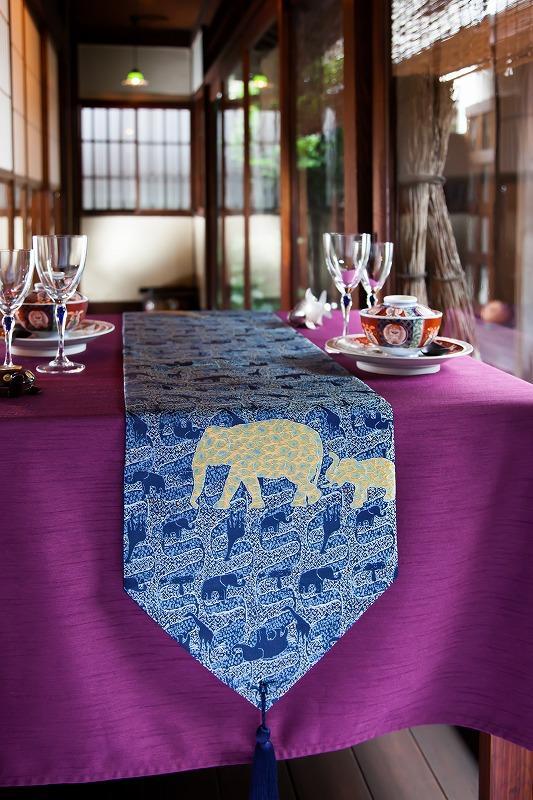 西陣織 金襴正絹 アフリカ紋様テーブルランナー
