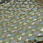 西陣織 金襴 正絹 武田菱宝尽し紋様 グリン紫あられ水