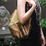 西陣織 金襴 正絹 アフリカ紋様でお仕立てした「おじゃみバッグ」