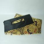 西陣織金襴 紺地亀甲丸龍 二つ折りクラッチバッグ西陣織 金襴 正絹