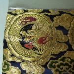 西陣織 金襴 正絹 紺地散雲丸龍 二つ折りクラッチバッグ