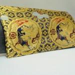 西陣織 金襴 正絹 紺地亀甲丸龍 二つ折りクラッチバッグ