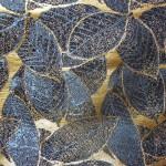 西陣金襴 正絹 葉脈紋様 紺地サビ箔