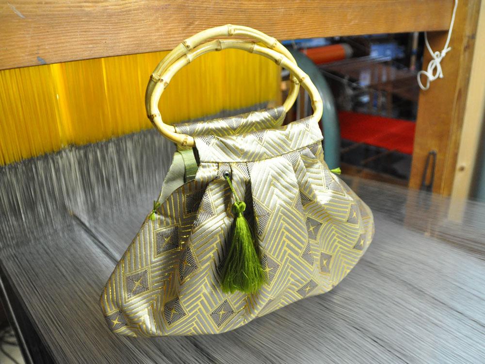 全正絹 西陣織 金襴 菱繋ぎ紋様 蛤型手提げバッグ