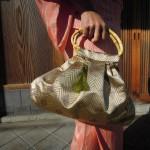 西陣織 金襴 正絹 菱繋ぎ紋様 蛤型手提げバッグ