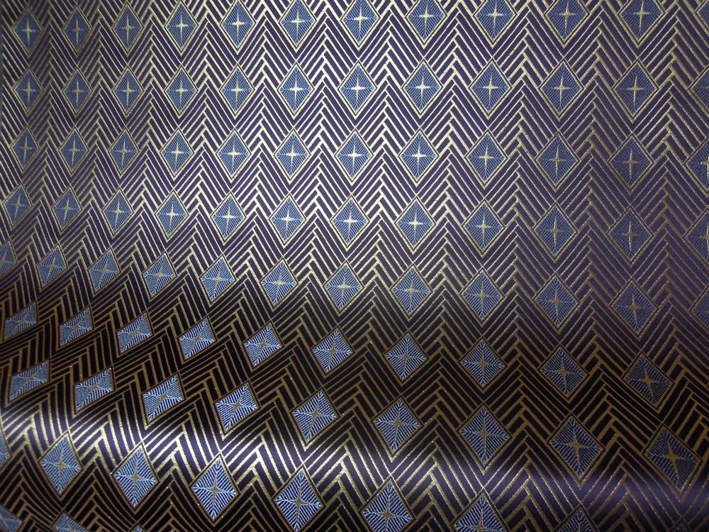 紫経 全正絹 西陣織 金襴 菱つなぎ紋様