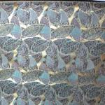 西陣金襴 正絹 葉脈紋様 紺地サビ箔 ピンク