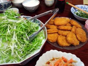 クリームコロッケと大根と水菜のサラダ