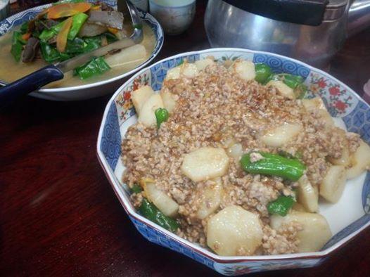 挽肉と長芋、万願寺唐辛子のあんかけ