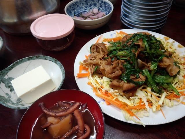 豚肉と春菊の生姜焼き