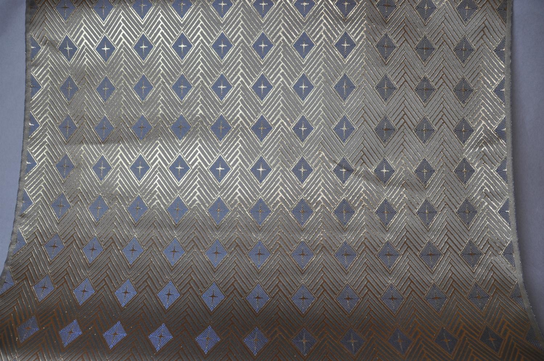 全正絹 西陣金襴 菱繋ぎ紋様 白茶地 青5