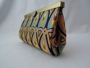 西陣正絹金襴 羽重ね紋様 クラッチバッグ