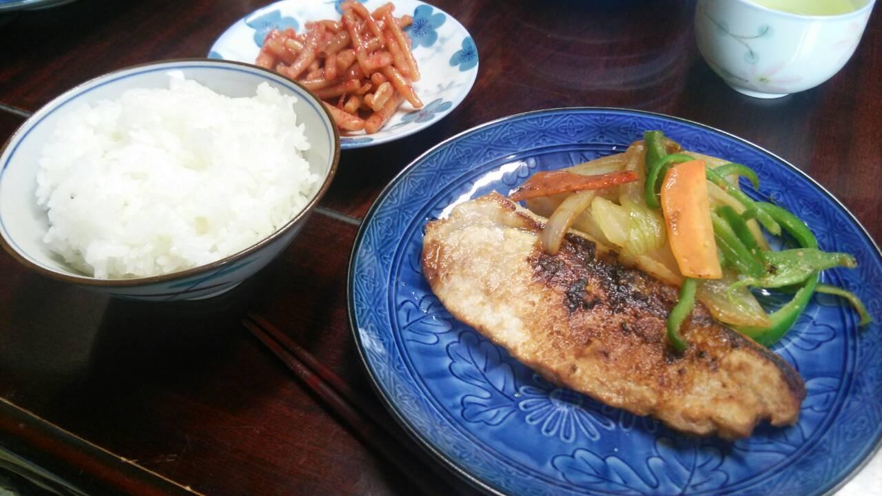 豚肉の味噌焼き、野菜盛り合わせ