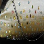 西陣金襴正絹 滴紋様 丸いがま口バッグ 正面