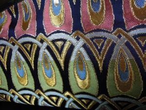 西陣金襴正絹 羽重ね紋様 がま口クラッチバッグ 背面