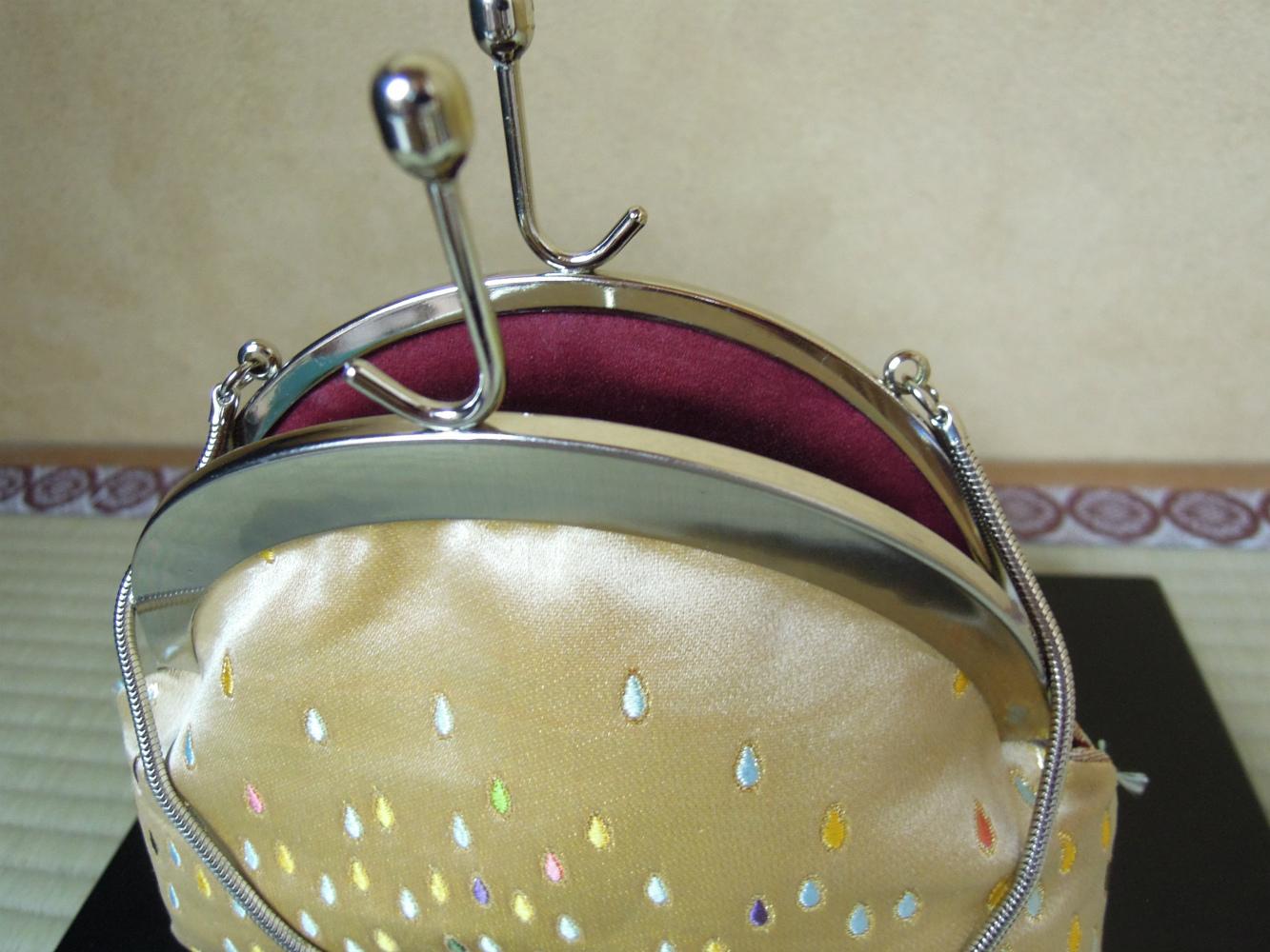 西陣金襴正絹 滴紋様 丸いがま口バッグ 裏地