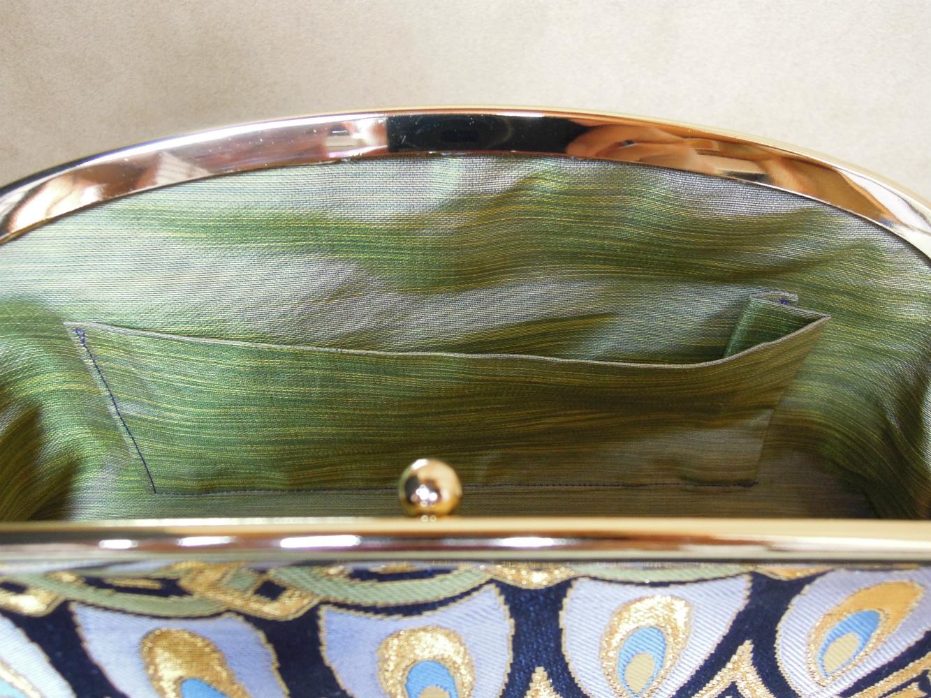 西陣金襴正絹 羽重ね紋様 がま口クラッチバッグ 裏地