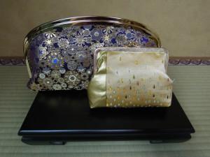 西陣金襴正絹 雪輪紋様 滴紋様 がま口クラッチバッグ